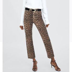 ZARA Leopard Print Straight Leg High Waist Jeans 8